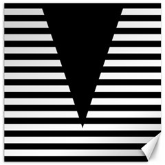 Black & White Stripes Big Triangle Canvas 12  X 12