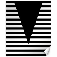 Black & White Stripes Big Triangle Canvas 16  X 20