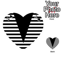 Black & White Stripes Big Triangle Playing Cards 54 (heart)