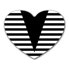 Black & White Stripes Big Triangle Heart Mousepads