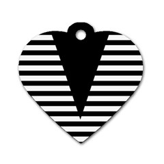Black & White Stripes Big Triangle Dog Tag Heart (two Sides)