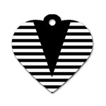 Black & White Stripes Big Triangle Dog Tag Heart (Two Sides) Front