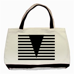 Black & White Stripes Big Triangle Basic Tote Bag (two Sides)