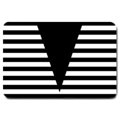 Black & White Stripes Big Triangle Large Doormat