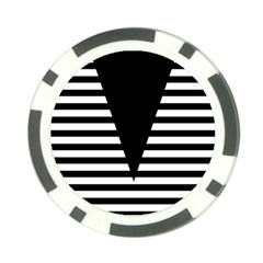 Black & White Stripes Big Triangle Poker Chip Card Guards