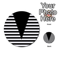 Black & White Stripes Big Triangle Multi Purpose Cards (round)