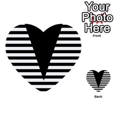 Black & White Stripes Big Triangle Multi Purpose Cards (heart)