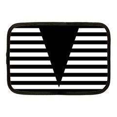 Black & White Stripes Big Triangle Netbook Case (medium)