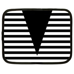 Black & White Stripes Big Triangle Netbook Case (large)