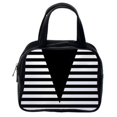 Black & White Stripes Big Triangle Classic Handbags (one Side)