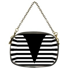 Black & White Stripes Big Triangle Chain Purses (two Sides)