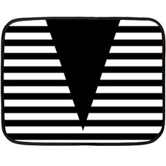 Black & White Stripes Big Triangle Double Sided Fleece Blanket (mini)