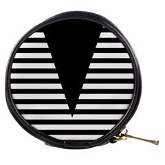 Black & White Stripes Big Triangle Mini Makeup Bags
