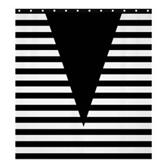 Black & White Stripes Big Triangle Shower Curtain 66  X 72  (large)