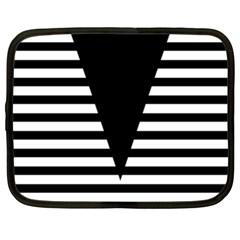 Black & White Stripes Big Triangle Netbook Case (xl)