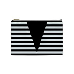 Black & White Stripes Big Triangle Cosmetic Bag (medium)