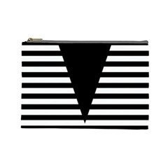 Black & White Stripes Big Triangle Cosmetic Bag (large)