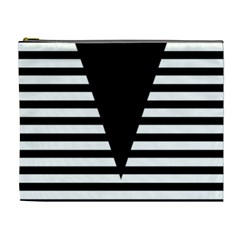 Black & White Stripes Big Triangle Cosmetic Bag (xl)
