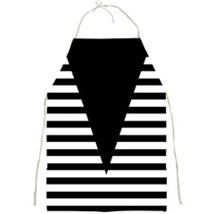 Black & White Stripes Big Triangle Full Print Aprons