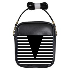 Black & White Stripes Big Triangle Girls Sling Bags