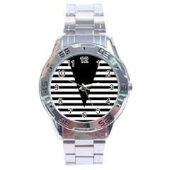 Black & White Stripes Big Triangle Stainless Steel Analogue Watch