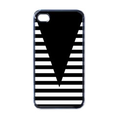 Black & White Stripes Big Triangle Apple Iphone 4 Case (black)