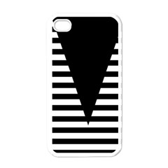 Black & White Stripes Big Triangle Apple Iphone 4 Case (white)