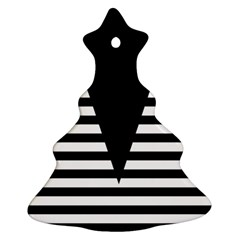 Black & White Stripes Big Triangle Christmas Tree Ornament (2 Sides)