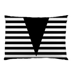 Black & White Stripes Big Triangle Pillow Case (two Sides)