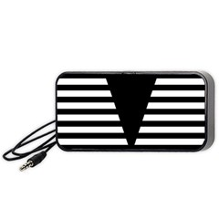 Black & White Stripes Big Triangle Portable Speaker (black)