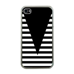 Black & White Stripes Big Triangle Apple Iphone 4 Case (clear)