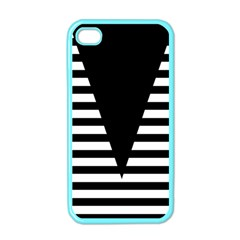 Black & White Stripes Big Triangle Apple Iphone 4 Case (color)