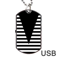 Black & White Stripes Big Triangle Dog Tag Usb Flash (two Sides)