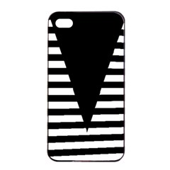 Black & White Stripes Big Triangle Apple Iphone 4/4s Seamless Case (black)
