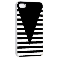 Black & White Stripes Big Triangle Apple Iphone 4/4s Seamless Case (white)