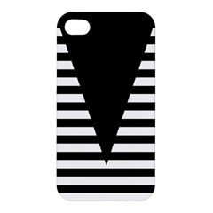Black & White Stripes Big Triangle Apple Iphone 4/4s Hardshell Case