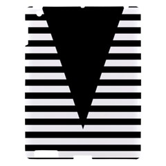 Black & White Stripes Big Triangle Apple Ipad 3/4 Hardshell Case