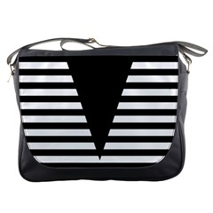 Black & White Stripes Big Triangle Messenger Bags