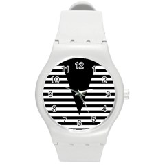 Black & White Stripes Big Triangle Round Plastic Sport Watch (m)