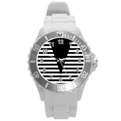 Black & White Stripes Big Triangle Round Plastic Sport Watch (l)