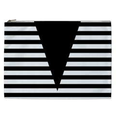 Black & White Stripes Big Triangle Cosmetic Bag (xxl)