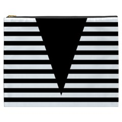 Black & White Stripes Big Triangle Cosmetic Bag (xxxl)