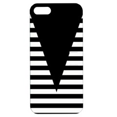 Black & White Stripes Big Triangle Apple Iphone 5 Hardshell Case With Stand