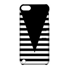Black & White Stripes Big Triangle Apple Ipod Touch 5 Hardshell Case With Stand