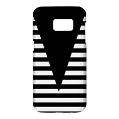 Black & White Stripes Big Triangle Samsung Galaxy S7 Hardshell Case
