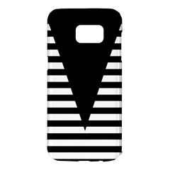 Black & White Stripes Big Triangle Samsung Galaxy S7 Edge Hardshell Case