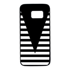 Black & White Stripes Big Triangle Samsung Galaxy S7 Black Seamless Case