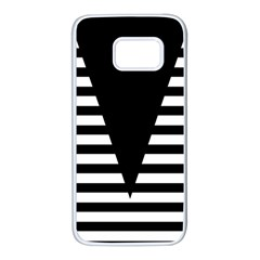 Black & White Stripes Big Triangle Samsung Galaxy S7 White Seamless Case