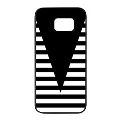 Black & White Stripes Big Triangle Samsung Galaxy S7 edge Black Seamless Case