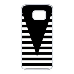 Black & White Stripes Big Triangle Samsung Galaxy S7 Edge White Seamless Case